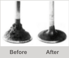 Engine valve before and after treatment