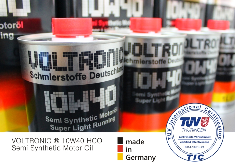 TÜV approval for VOLTRONIC 10W40 HCO motor oil