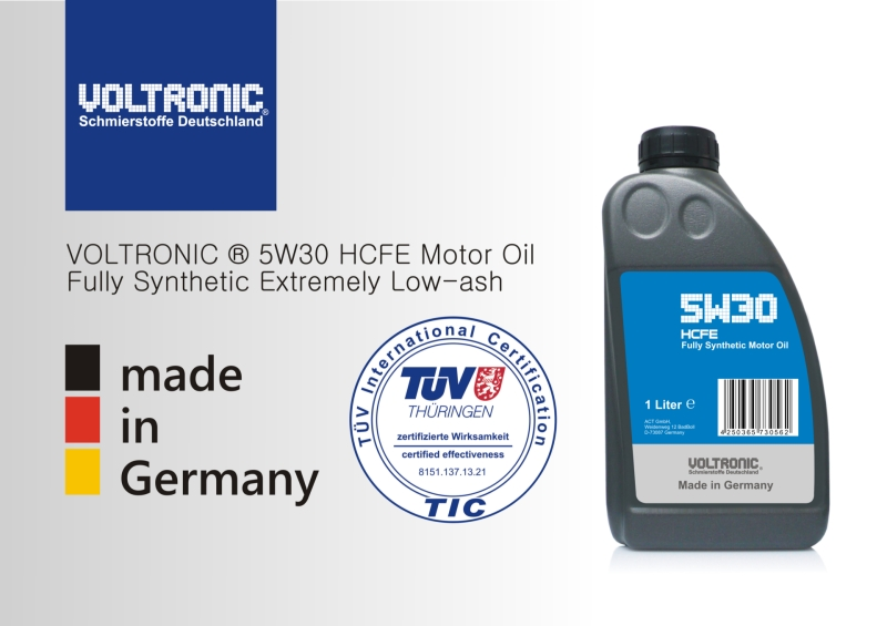 TÜV approval for VOLTRONIC 5W30 HCFE motor oil