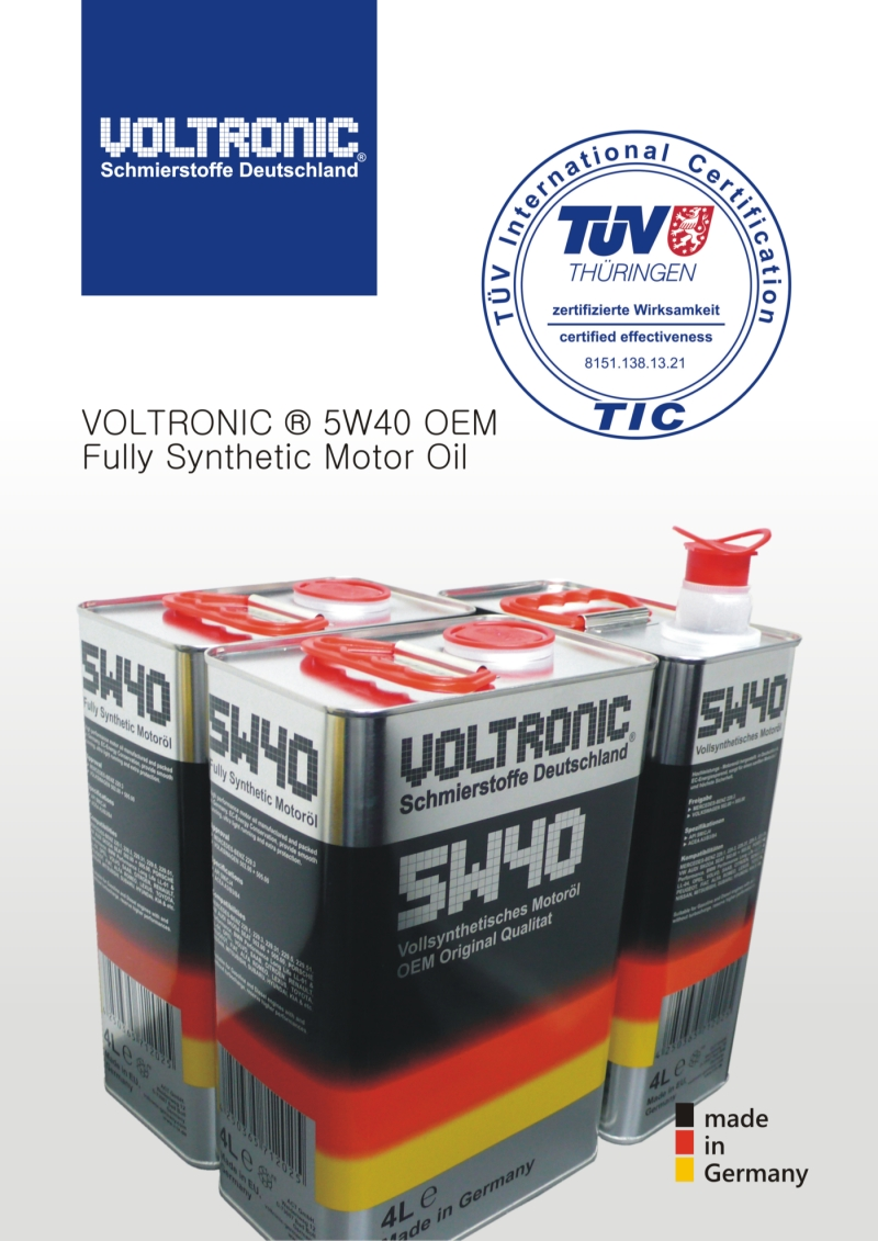 TÜV approval for VOLTRONIC 5W40 OEM motor oil