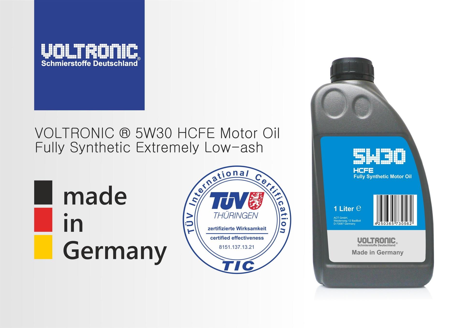 voltronic 5W30 HCFE motor oil TÜV certified