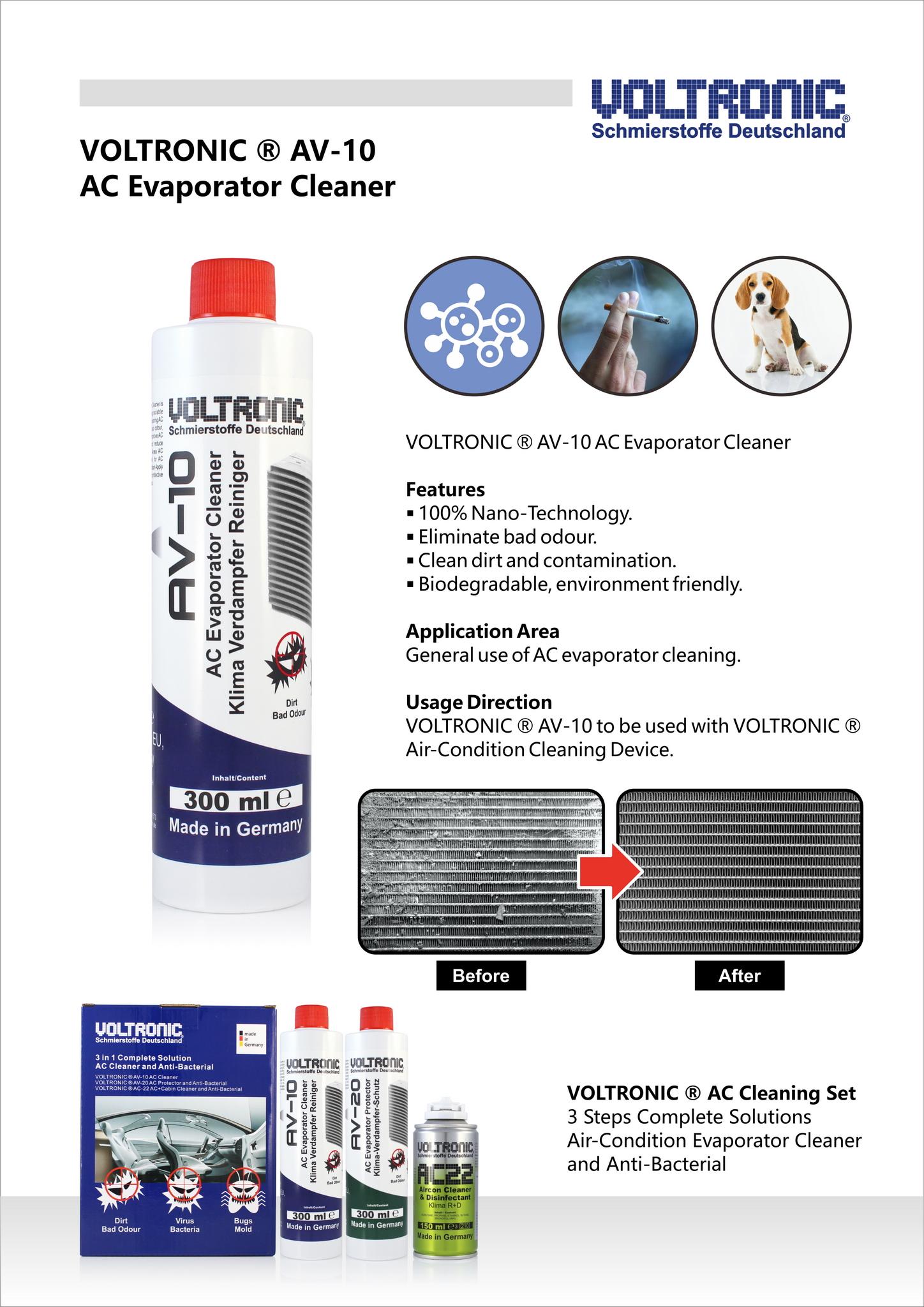 voltronic av10 air-condition evaporator cleaner