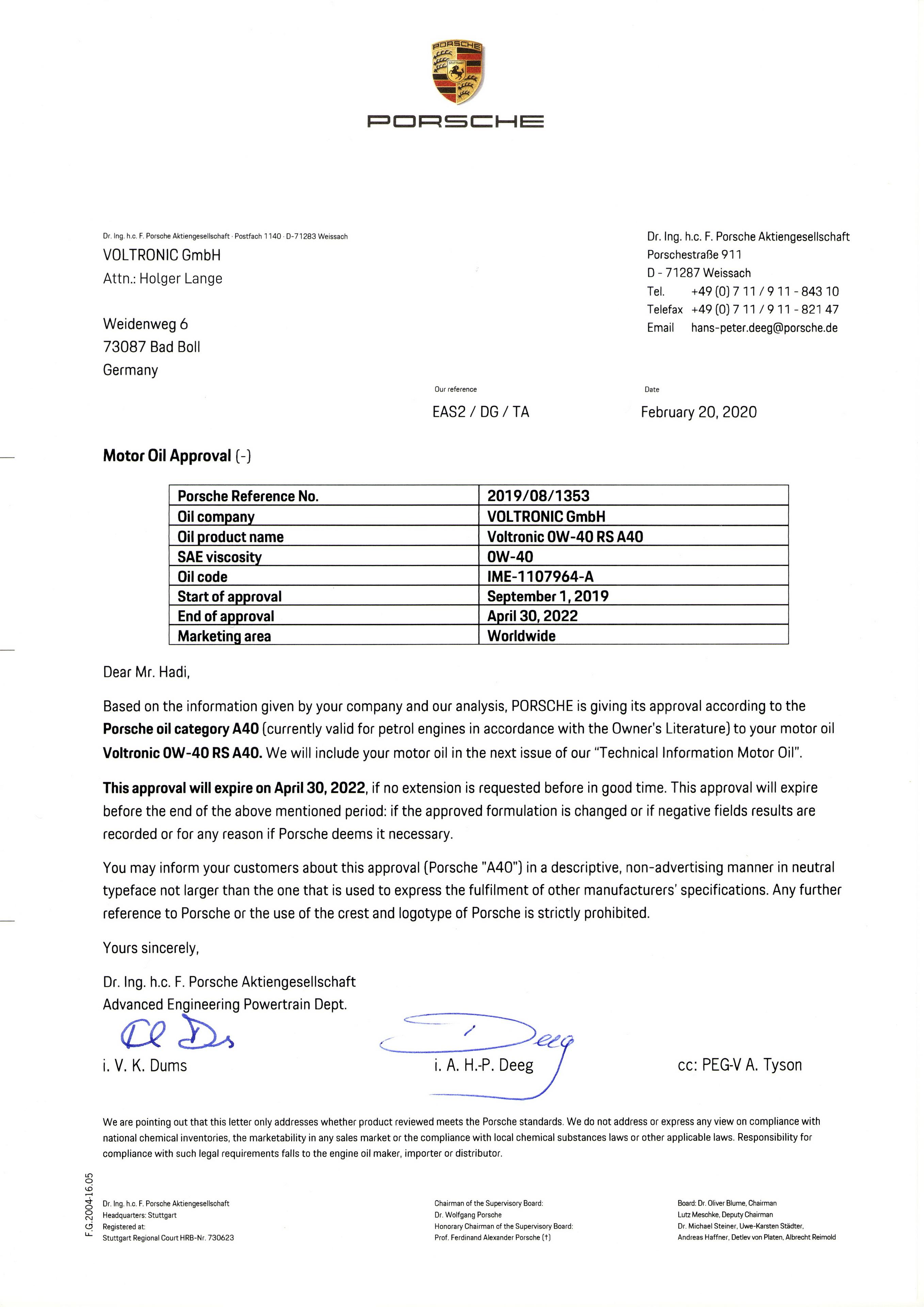 VOLTRONIC 0W40 GT-RS PORSCHE A40 Approval
